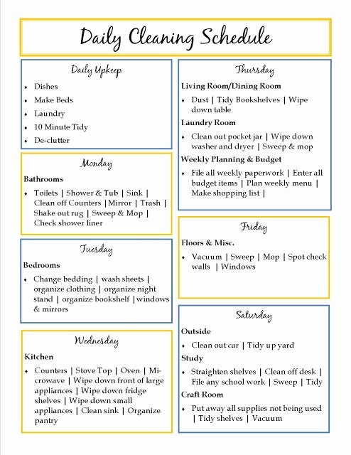 House Cleaning Checklist Template Inspirational House Cleaning Daily House Cleaning Templates
