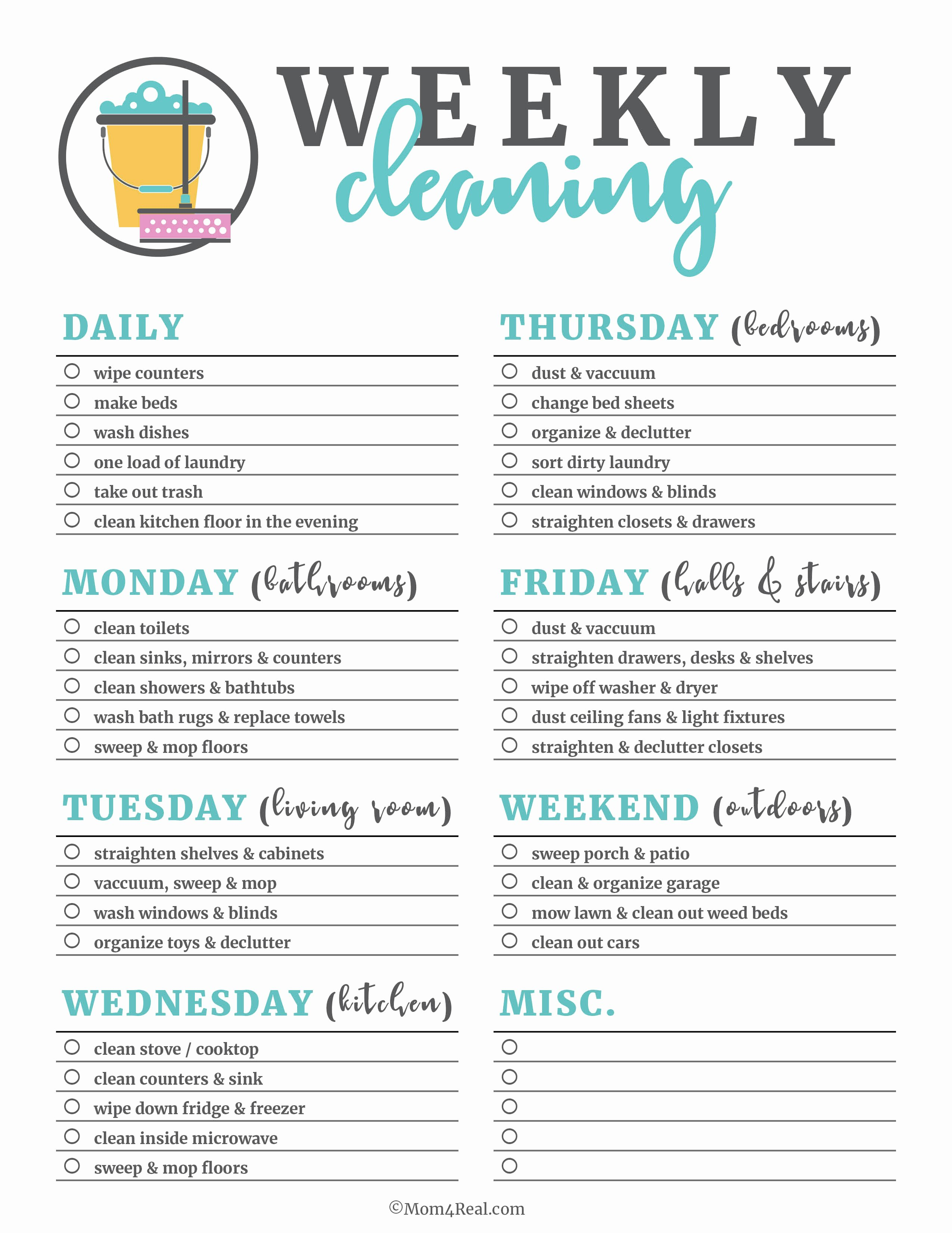 House Cleaning Checklist Template Inspirational Printable Cleaning Checklists for Daily Weekly and