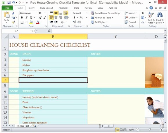 House Cleaning Checklist Template New Free House Cleaning Checklist Template for Excel