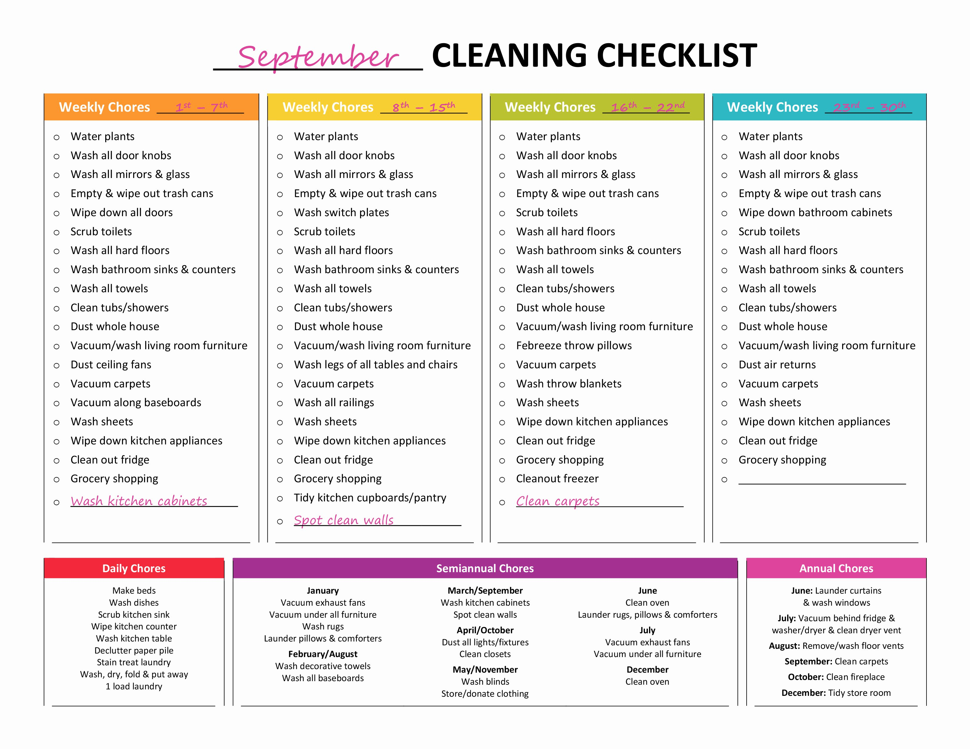 House Cleaning Checklist Template New Plete Housekeeping Printable Set