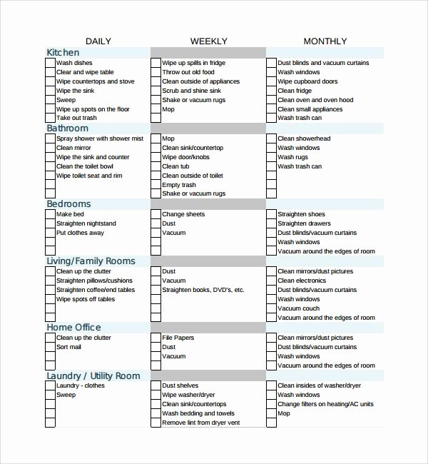 House Cleaning Checklist Template New Sample House Cleaning Checklist