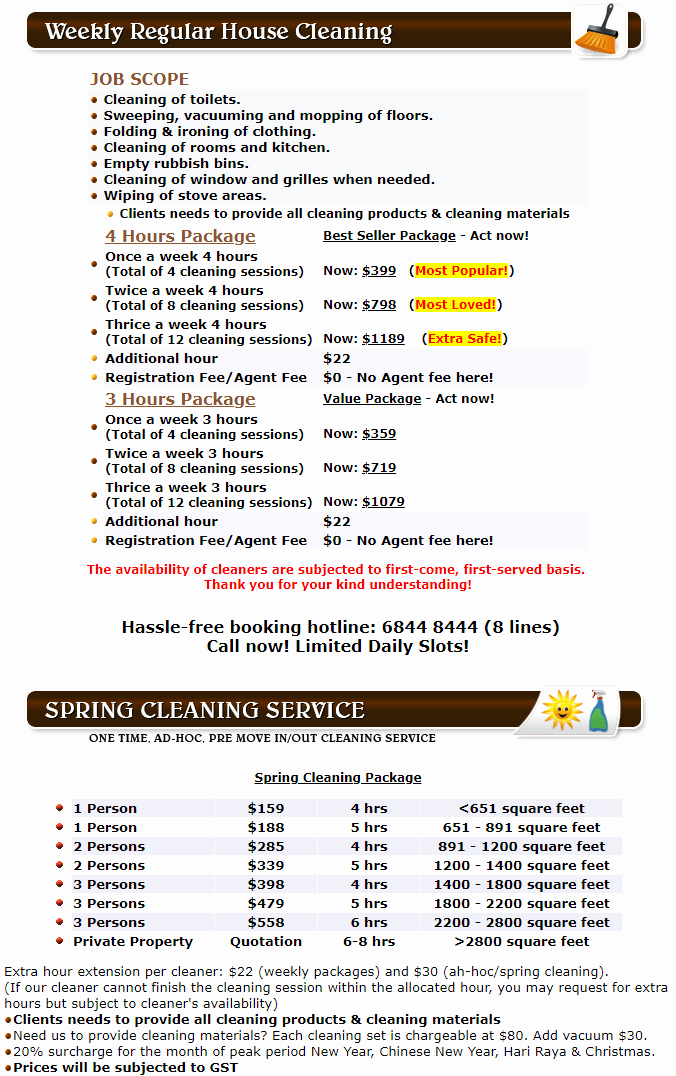40 house cleaning price list