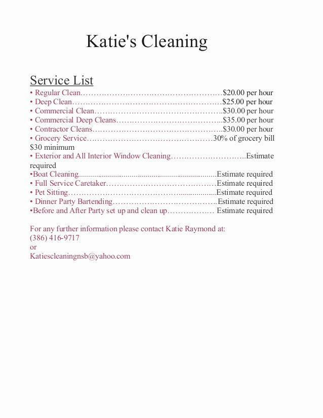 House Cleaning Price List Elegant Katies Price List