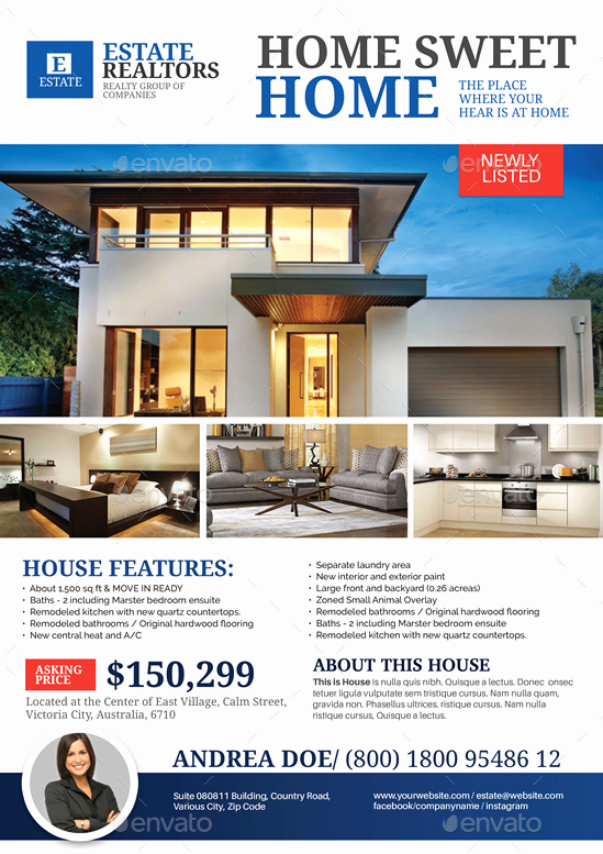 House for Sale Flyer Beautiful Real Estate Modern House Listing Flyer by Artchery
