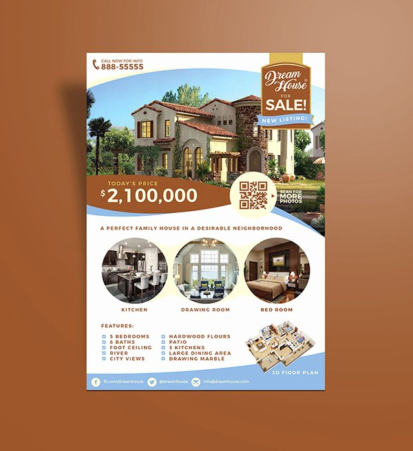 House for Sale Flyer Inspirational Free Real Estate House for Sale Flyer Design Template