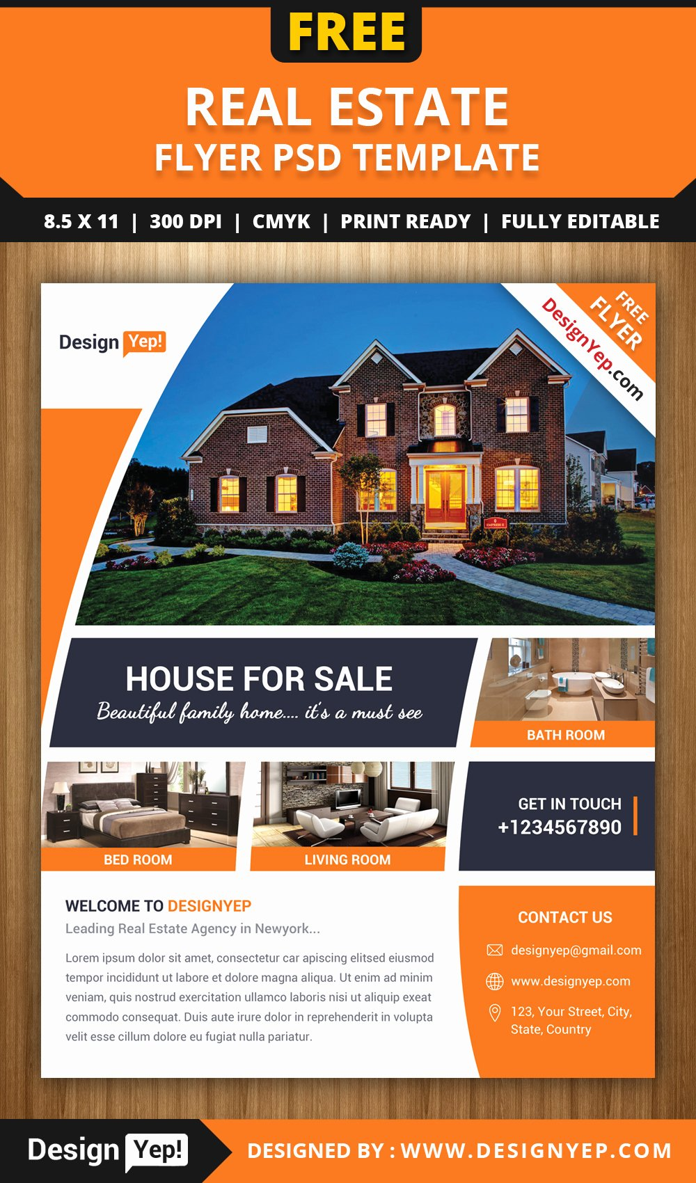 House for Sale Flyer Unique Free Real Estate Flyer Psd Template Designyep
