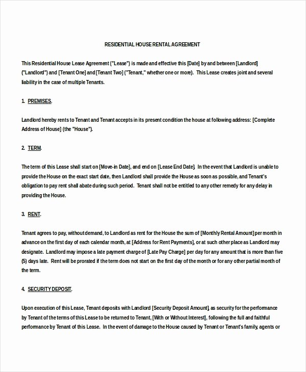 House Rental Agreement Template Awesome 16 House Rental Agreement Templates Doc Pdf