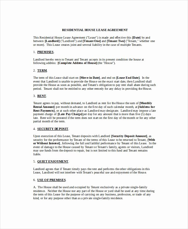 House Rental Agreement Template Awesome Rental Agreement Template 20 Free Word Pdf Documents