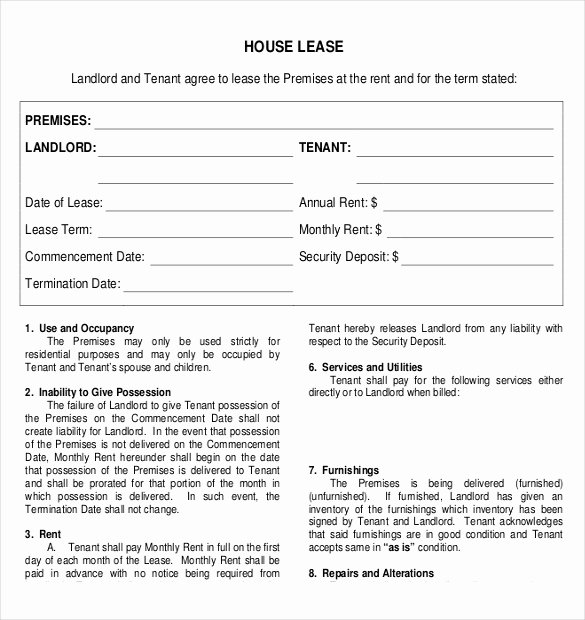 House Rental Agreement Template Beautiful Rental Agreement Template – 21 Free Word Pdf Documents
