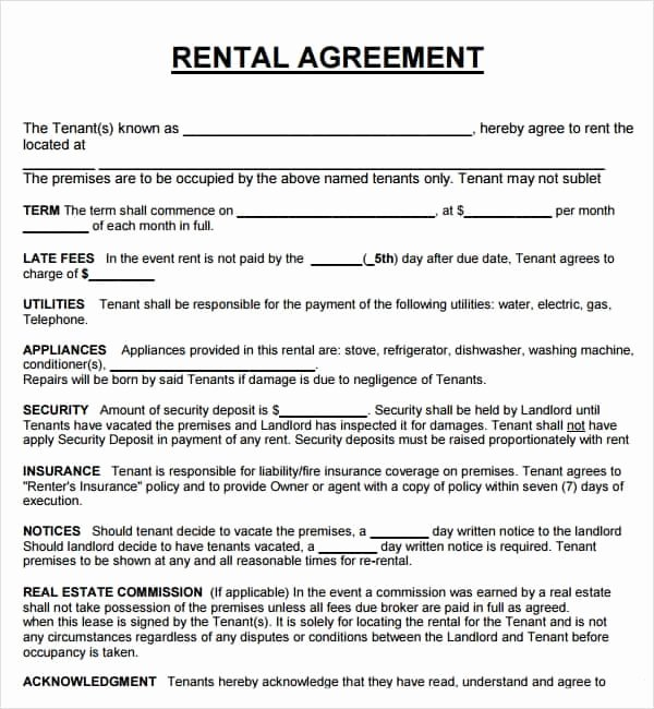 rental agreement templates