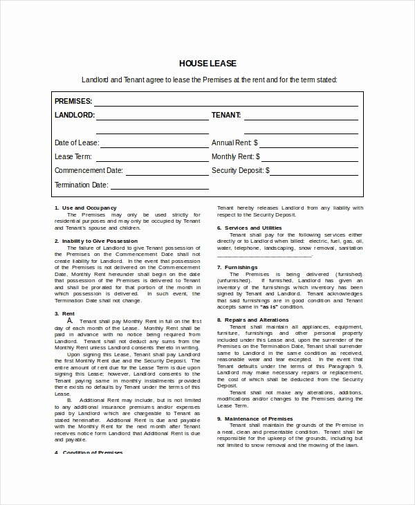 House Rental Agreement Template Best Of House Lease Template 7 Free Word Pdf Documents