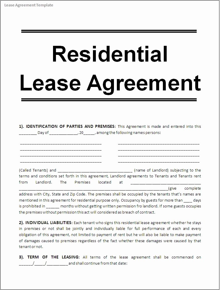 House Rental Agreement Template Best Of Lease Agreement Template