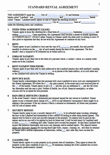 House Rental Agreement Template Fresh Residential Lease Agreement Template
