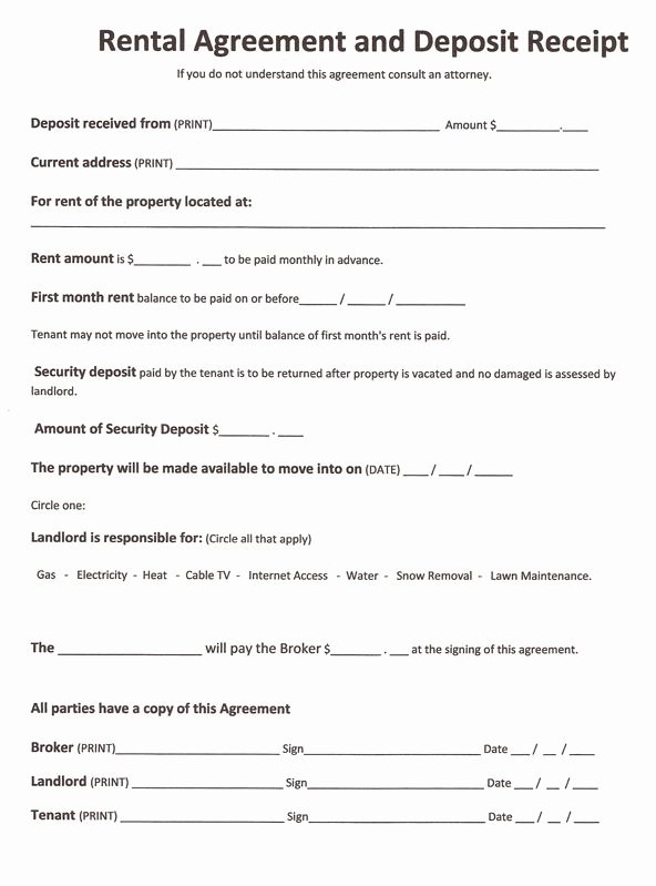 House Rental Agreement Template Inspirational Free Rental forms to Print