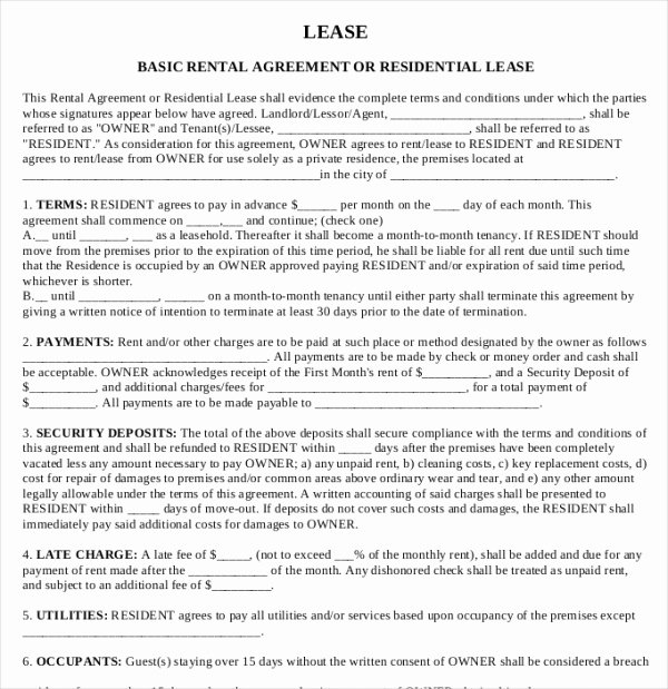 House Rental Agreement Template Lovely Printable Lease Agreement