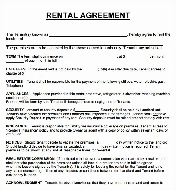 House Rental Agreement Template New House Lease Agreement Pdf – Printable Year Calendar