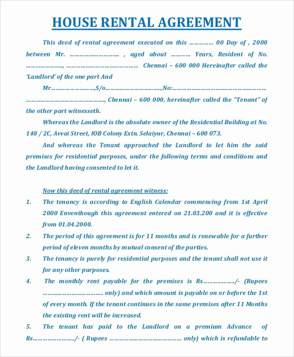 House Rental Agreement Template New Sample House Rental Agreement 19 Examples In Pdf Word