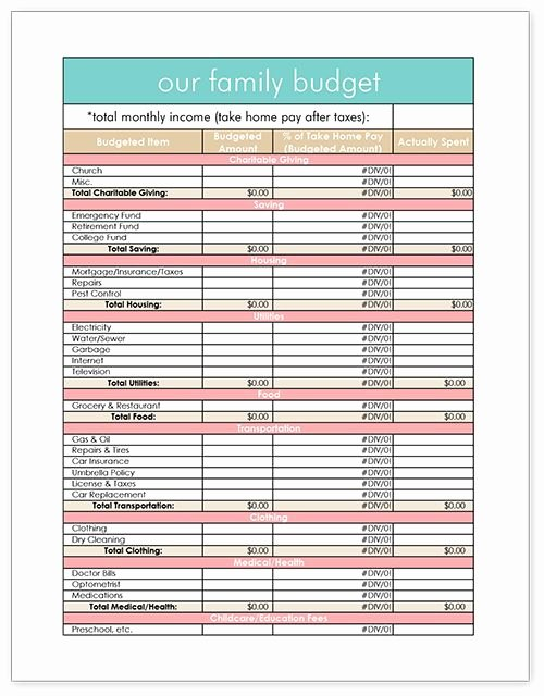 Household Budget Template Printable Elegant Printable Family Bud Get organized Pinterest