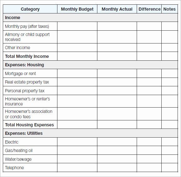 Household Budget Template Printable Elegant Sample Household Bud 11 Documents In Pdf Word