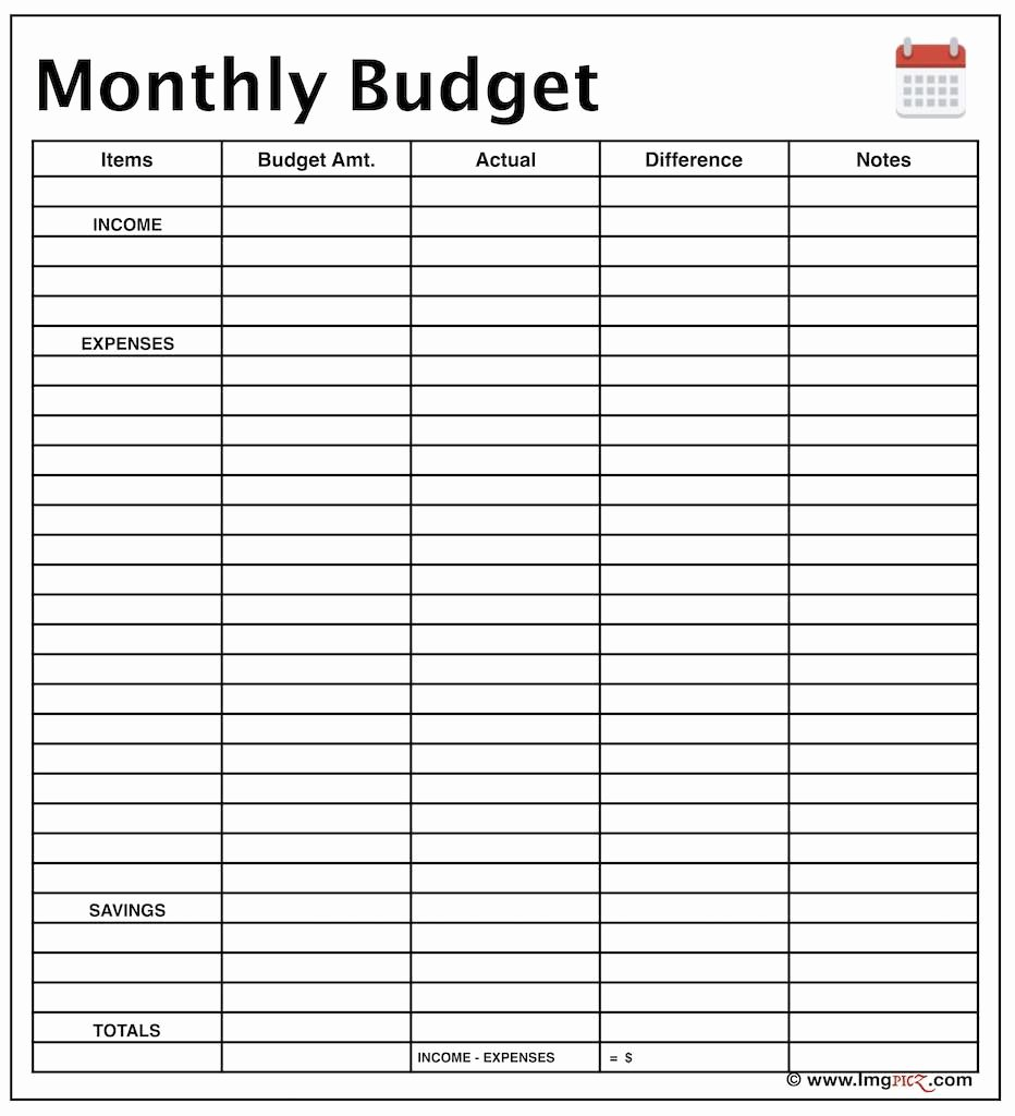 Household Budget Template Printable Unique Monthly Bud Planner