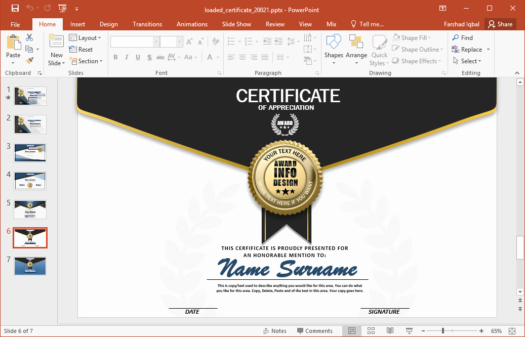 How to Make A Certificate Elegant Animated Certificate Powerpoint Template