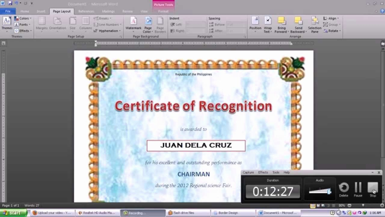 How to Make A Certificate Inspirational Making Certificate Using Microsoft Word 2010