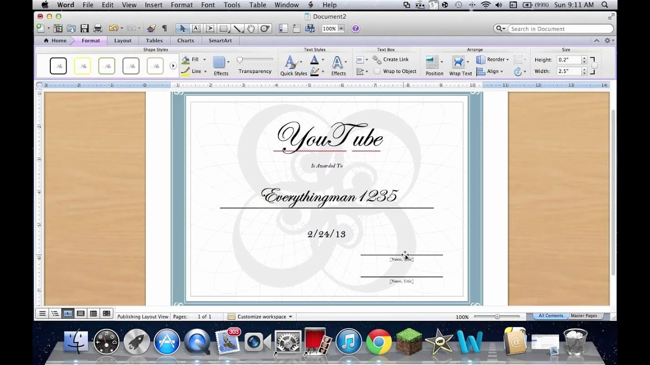 How to Make A Certificate New How to Create A Certificate On Word 2011 Mac
