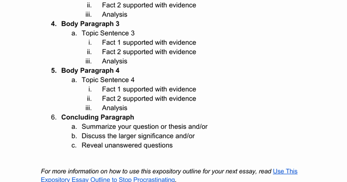 How to Outline An Essay Unique Expository Essay Outline Ppt
