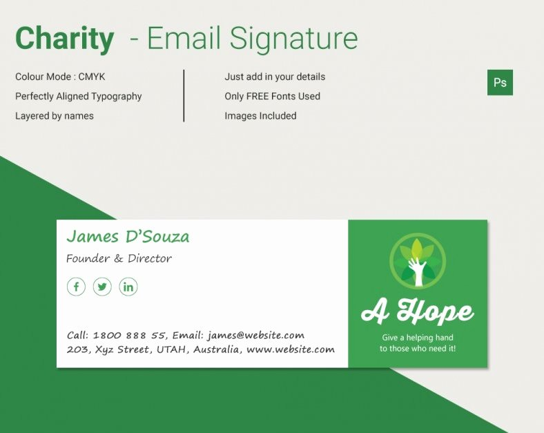Html Email Signature Template New Modern Charity HTML Email Signature