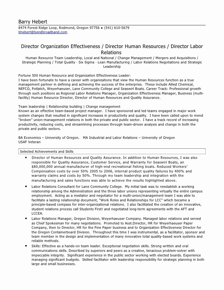 Human Resources Manager Resume Awesome Hr Director Resume