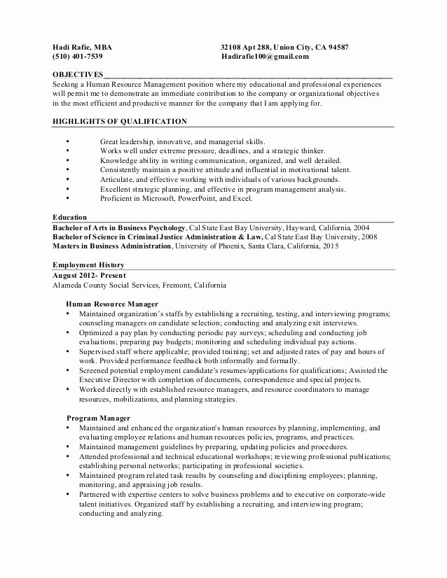 Human Resources Manager Resume Beautiful Resume Human Resource Manager