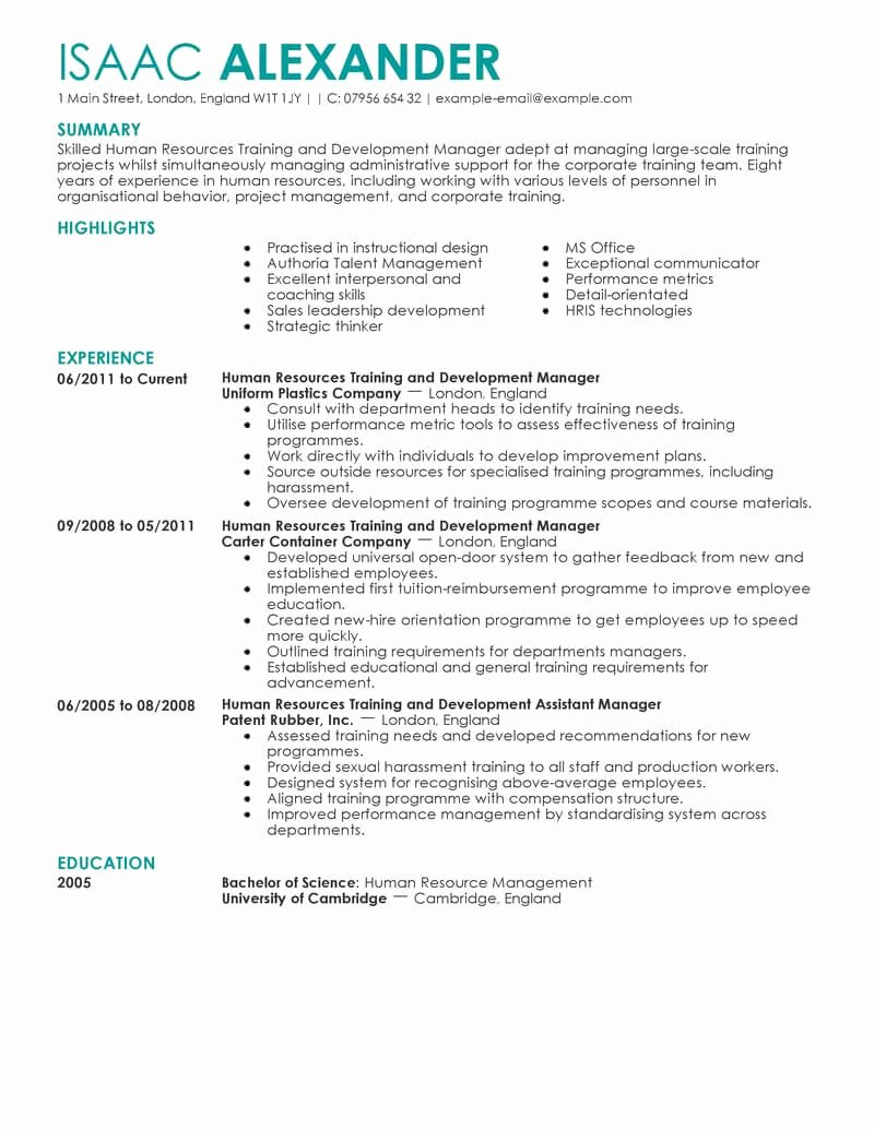 Human Resources Manager Resume Fresh Best Training and Development Resume Example