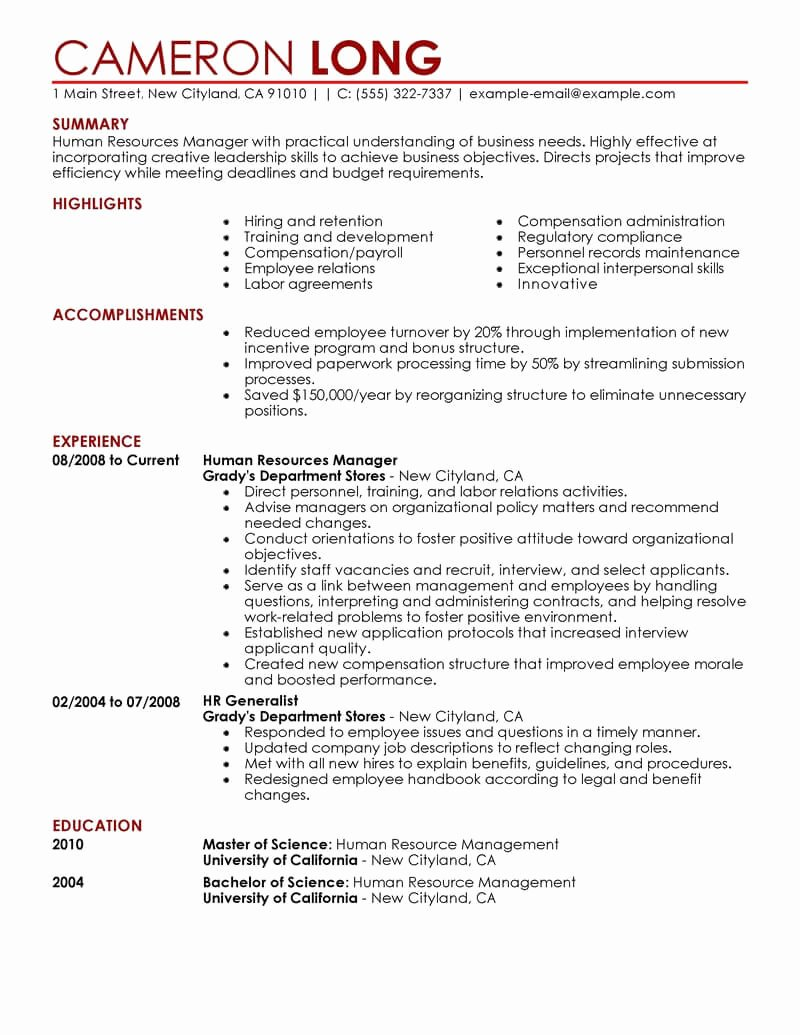 Human Resources Manager Resume Lovely Best Human Resources Manager Resume Example