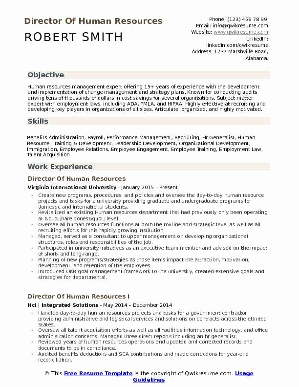 Human Resources Manager Resume Luxury Director Of Human Resources Resume Samples