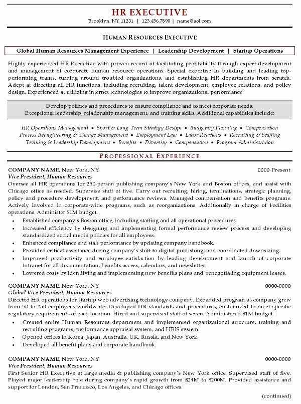 Human Resources Manager Resume Luxury Resume Sample 20 Human Resources Executive Resume