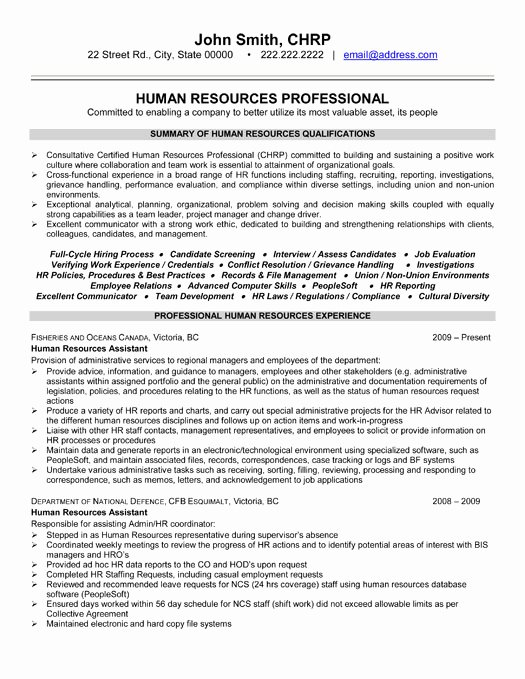 Human Resources Manager Resume Luxury top Human Resources Resume Templates & Samples