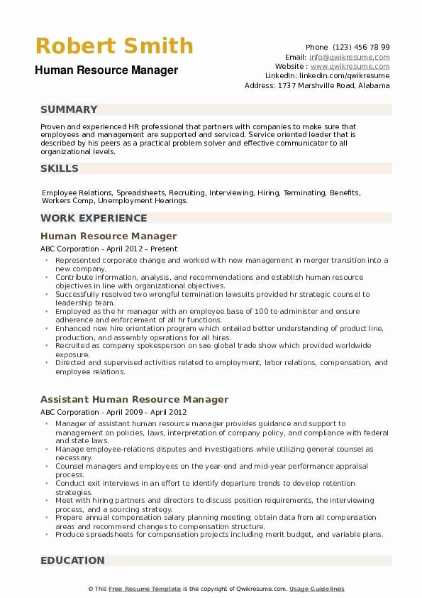 Human Resources Manager Resume New Human Resource Manager Resume Samples