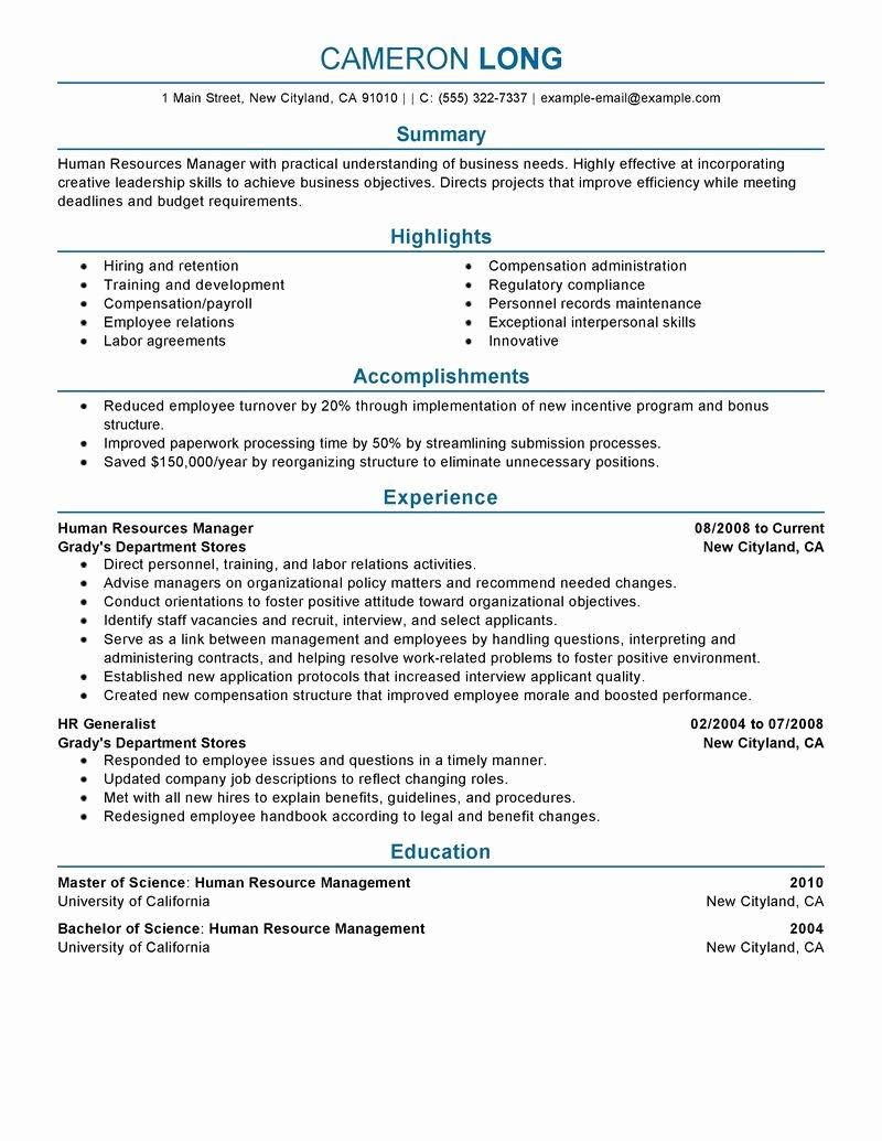 Human Resources Manager Resume Unique Best Human Resources Manager Resume Example