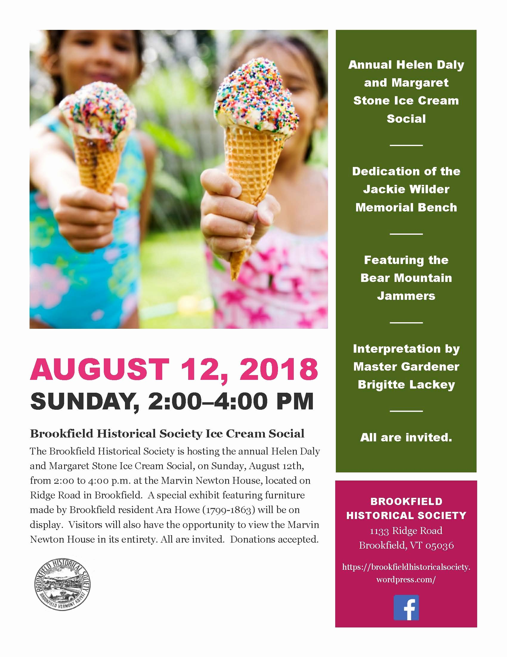 Ice Cream social Flyer Lovely Brookfield Historical society Vt