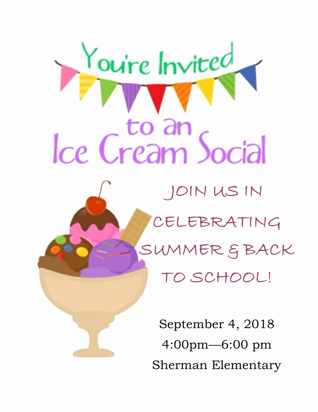 Ice Cream social Flyer Luxury Ice Cream social 2018