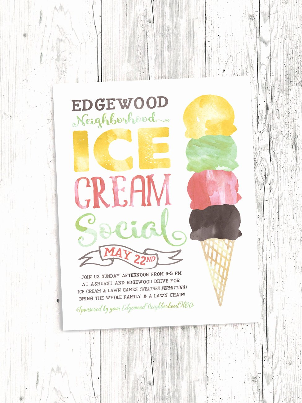 Ice Cream social Flyer Luxury Ice Cream social Flyer Electronic Print File Kids Ice Cream