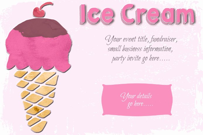 Ice Cream social Flyer Luxury Ice Cream social Party Sweets Poster Flyer Template Pink