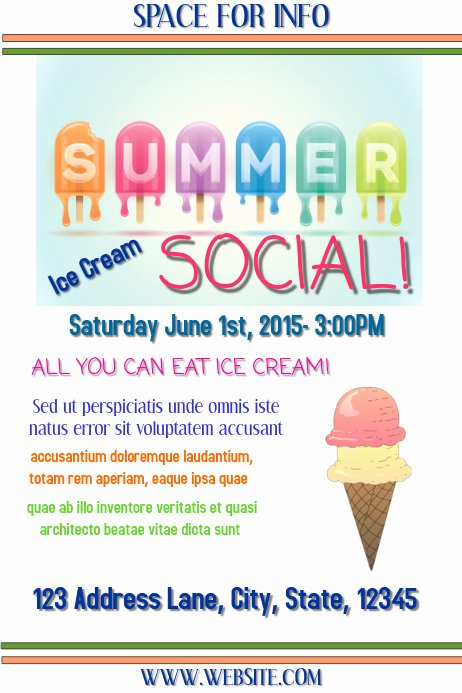 Ice Cream social Flyer New Ice Cream social Template
