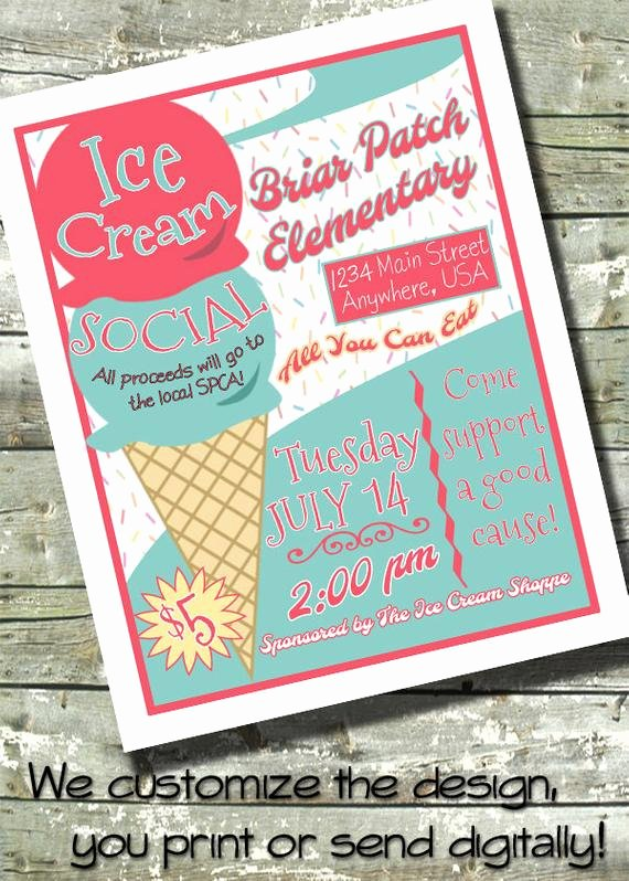 Ice Cream social Flyer New Items Similar to Ice Cream social Party 5x7 Invite 8