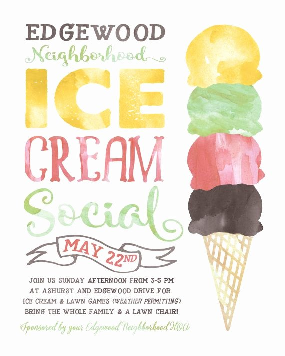 Ice Cream social Flyer Unique Ice Cream social Flyer Electronic Print File Kids by