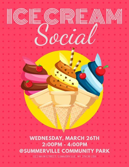 Ice Cream social Flyer Unique Ice Cream social Flyer Template