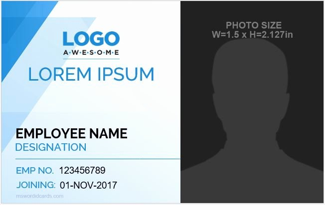 Id Card Template Word Awesome 5 Best Employee Id Card format In Word