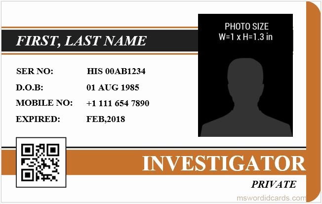 Id Card Template Word Awesome 5 Best Investigator Id Card Templates Ms Word