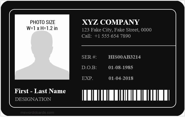 Id Card Template Word Best Of Employee Id Card Templates