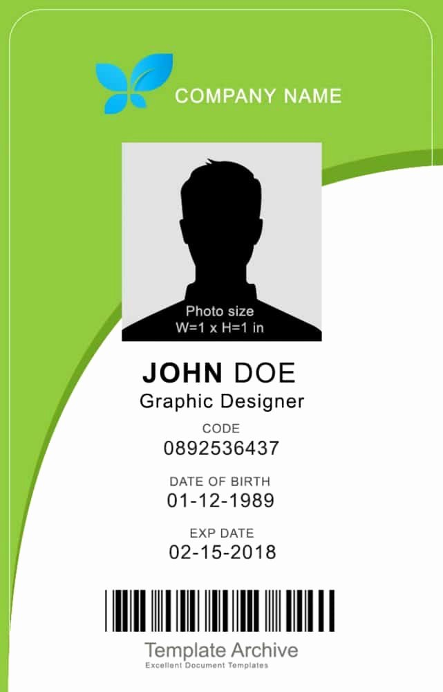 Id Card Template Word Elegant 16 Id Badge & Id Card Templates Free Template Archive